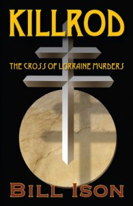 KILLROD The Cross of Lorraine Murders. Cover by Lewis Agrell. Simple, elegant design employing archetypes––the cross and circle, which also looks like a moon.